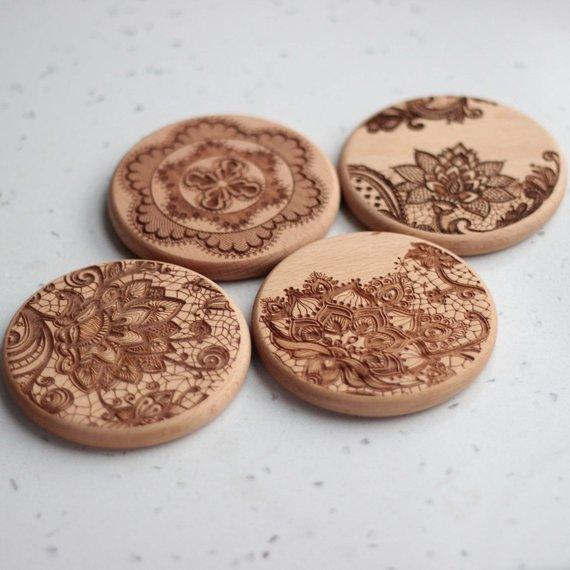 Lace Wood coasters - Set of 6 - BOSTON CREATIVE COMPANY