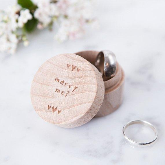 Personalized Proposal Engagement Ring Box Will You Marry Me
