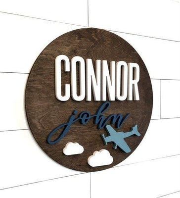 "Plane Custom Name Sign | 24"" Round Sign 