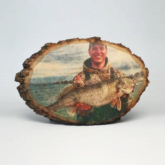 Your Fishing Picture on Wood Fishing Gifts Custom Wood Photo Transfer