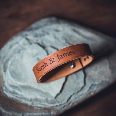 Leather Bracelet -Personalized men leather bracelet, Custom engraved leather bracelet double sided, adjustable leather bracelet, Christmas gift for boyfriend - BOSTON CREATIVE COMPANY