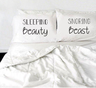 Sleeping Beauty & Snoring Beast Pillow Case Wedding Gift