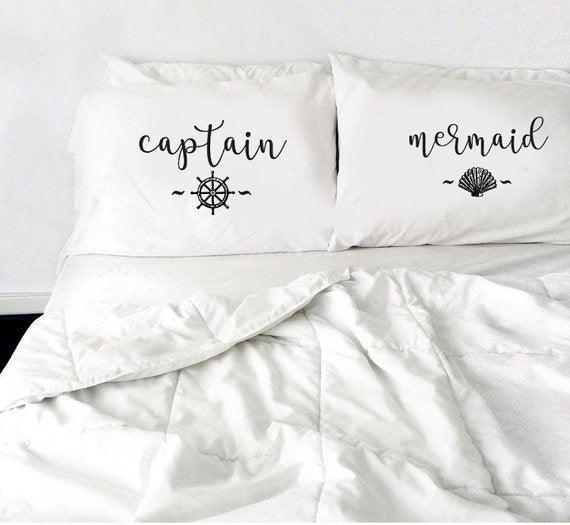 Captain Mermaid Pillow Case Set, Couples Pillowcase Anniversary Gift