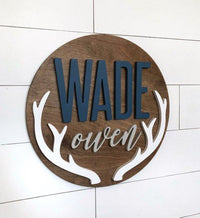 "24"" Antler Sign, Boy Nursery Decor, Baby Gift, 3D, Antler Deer sign - BOSTON CREATIVE COMPANY"