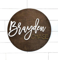 "30"" Personlized Wood Name Sign, Nursery Round Sign - BOSTON CREATIVE COMPANY"