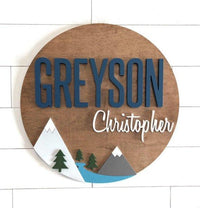 "Custom Name | 24"" Mountain Sign 