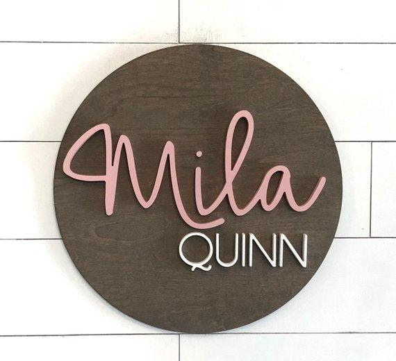 "Nursery Name Sign | 24"" Round Sign 