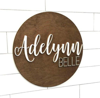 Name Sign wooden round Baby Sign