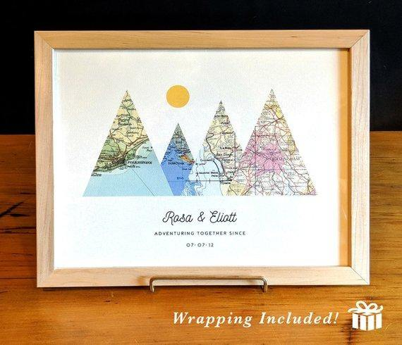 Christmas Gift Art Print, Adventure Together, Custom Map Print, Personalized Christmas Present, Gift for Parents, Xmas Gift Art - BOSTON CREATIVE COMPANY