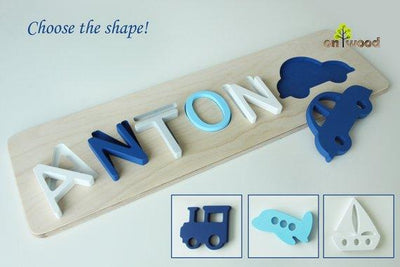 Personalized Baby Boy Gift. Wooden Name Puzzle. - BOSTON CREATIVE COMPANY