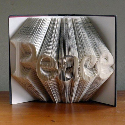 Folded Book Art - Peace - Book Sculpture - Unique Gift - Decoration - Book Art - Book Lover - Peace Sign - BOSTON CREATIVE COMPANY