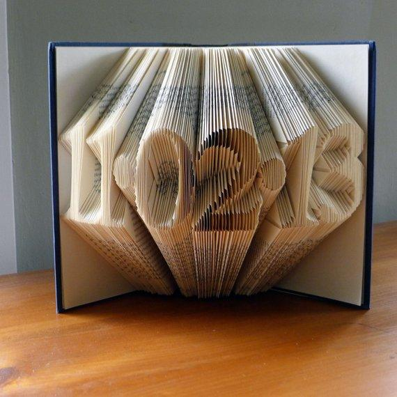 Folded Book Art -Last Minute Gift for Husband Wife - Paper Anniversary - First Wedding Anniversary - Marriage Gift - Unique - One Of A Kind - Save the Date - BOSTON CREATIVE COMPANY