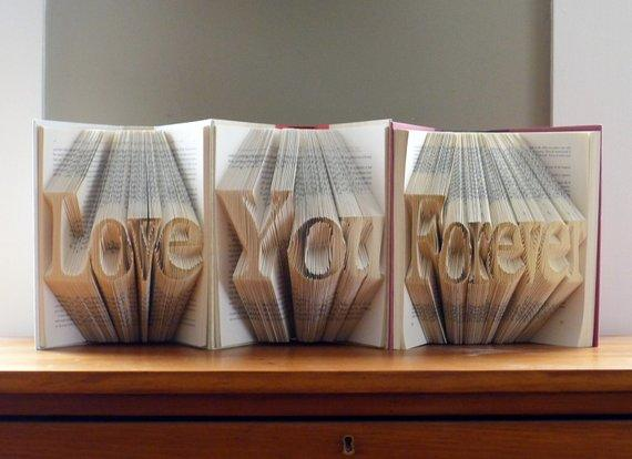Anniversary Gift - Paper Anniversary - First Anniversary - Folded Book Art - Custom Phrase - Unique Proposal Ideas - Wedding Decor - BOSTON CREATIVE COMPANY