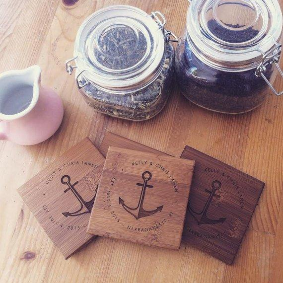 Nautical Anchor Engraved Coaster Set - BOSTON CREATIVE COMPANY