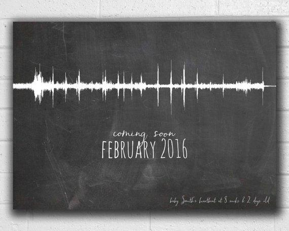 Pregnancy Announcement Ultrasound Heartbeat Sound Wave Art