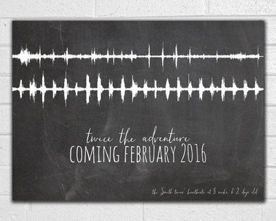 Twins Pregnancy Announcement Ultrasound Heartbeat Sound Wave Art