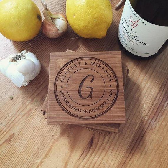 Custom Wood Coasters Set Wedding Gift - BOSTON CREATIVE COMPANY
