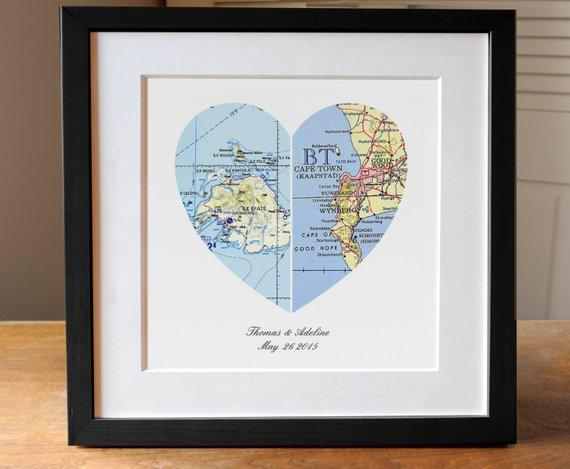 Anniversary Gift, Wedding Gift, Map Art, Heart Map, Engagement Gift, Thoughtful Gift, Gifts For Couple, Map Heart, Romantic - BOSTON CREATIVE COMPANY