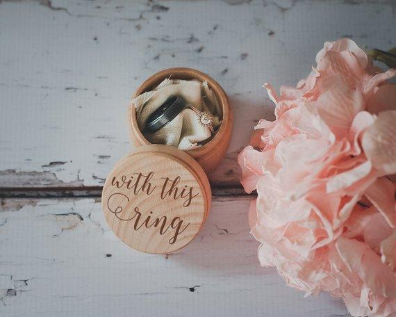 With This Ring Box Engraved Wedding Wooden Ring Box