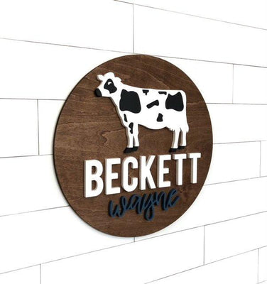 "Nursery Custom Name | 24"" Farm Cow Sign 