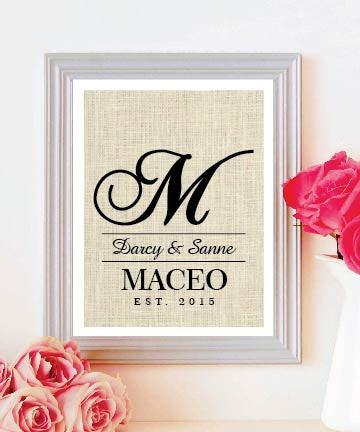 Burlap Print Monogram | Monogram Wedding Gift | Personalized Wedding Gift for Couple | Gift for Her - BOSTON CREATIVE COMPANY