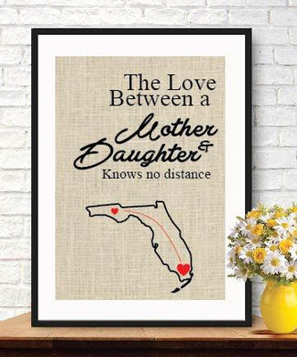 Customized country burlap-Love Between a Mother & Daughter Knows No Distance-Burlap Wall Decor-Mom Gift Map-Burlap Art Print - BOSTON CREATIVE COMPANY