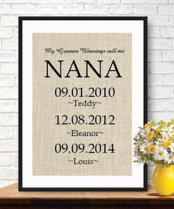 My Greatest Blessings Call Me Nana| Gift for Grandmother |Burlap Print | Grandchildren Name Wall Art - BOSTON CREATIVE COMPANY
