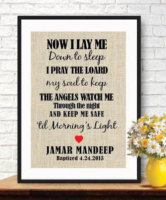 Now I Lay Me Down to Sleep - Gift for Children - Burlap Print -Christening Gifts-Prayer for children - BOSTON CREATIVE COMPANY