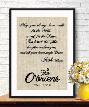 Interesting House Warming Gift Personalized Irish Blessing House Warming Gift Burlap Print - BOSTON CREATIVE COMPANY