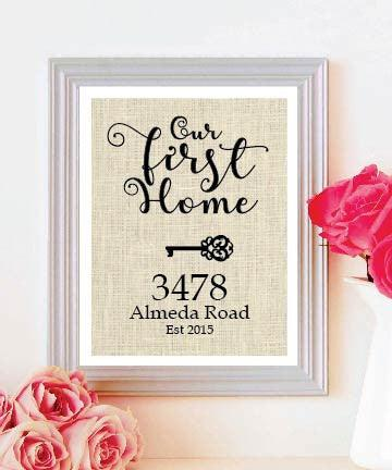 Our First Home Burlap Print -Personalized Address Sign - New House Gift - New Home Housewarming Gift - BOSTON CREATIVE COMPANY