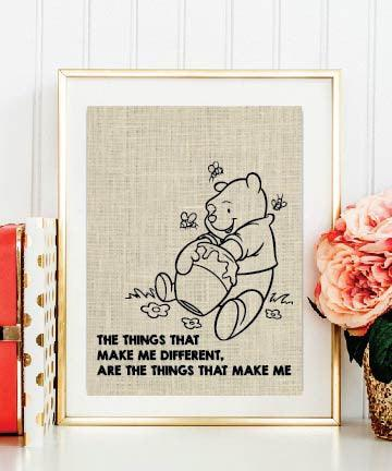 Things That Make Me Different Winnie Pooh Quotes-Framed Burlap Print - Valentine's Day Gift - BOSTON CREATIVE COMPANY