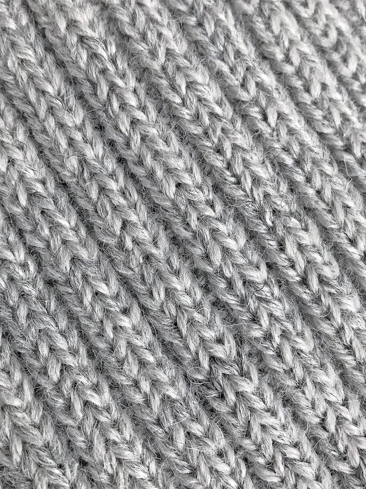 Grey Wool and Alpaca Knit Beanie Close Up
