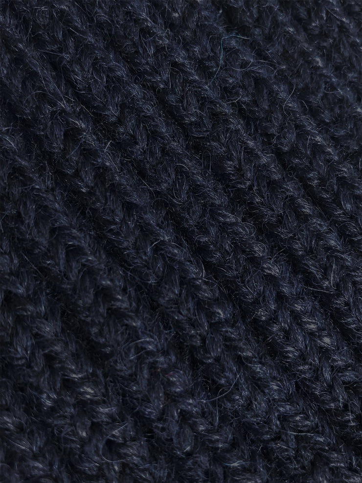 Navy Wool and Alpaca Knit Beanie Close Up