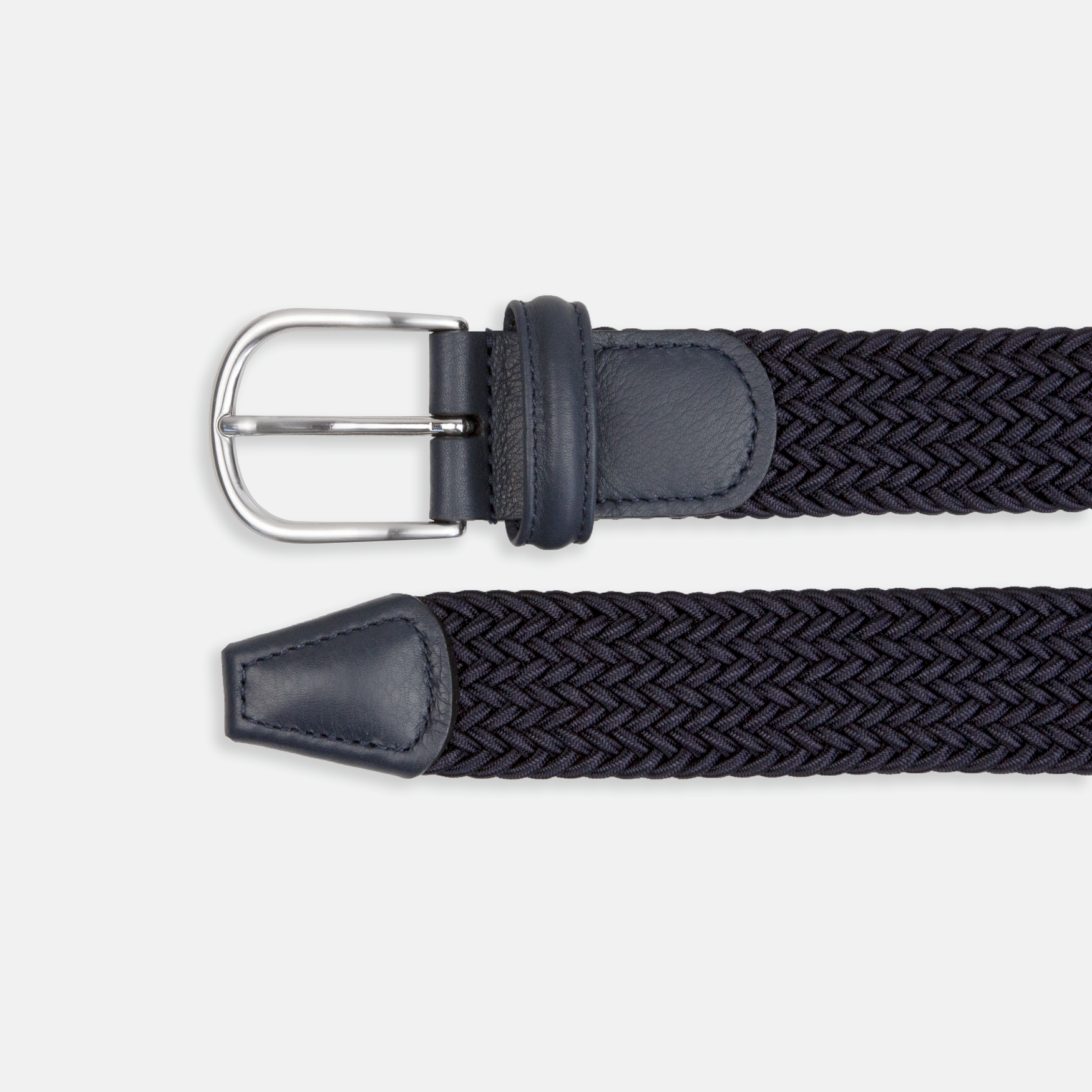Andersons Leather-Trimmed Woven Elastic Belt Navy