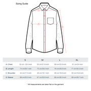 Button-Down Chambray Shirt Measurement Chart