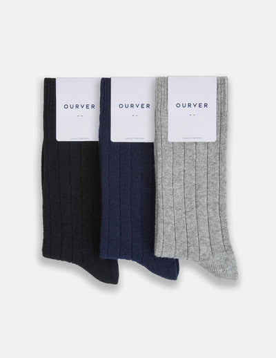 Mens Merino Cashmere Sock Three-Pack