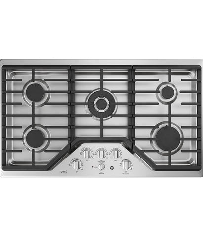 "36"" BUILT-IN DEEP-RECESSED EDGE-TO-EDGE GAS COOKTOP GE CAFÉ - STAINLESS STEEL CGP9536SLSS"