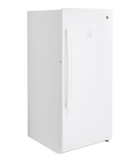 14.1 CU. FT. FROST FREE UPRIGHT FREEZER GE - WHITE ON WHITE