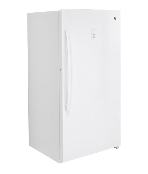 17.3 CU. FT. FROST FREE UPRIGHT FREEZER GE - WHITE ON WHITE
