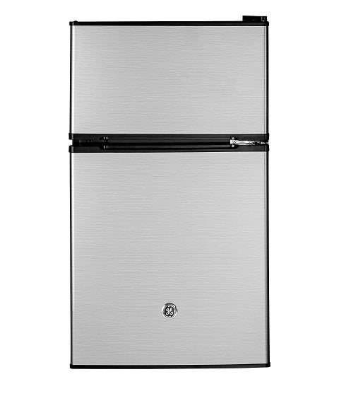GE DOUBLE DOOR COMPACT REFRIGERATOR 3.1 CU FT GE - STAINLESS STEEL