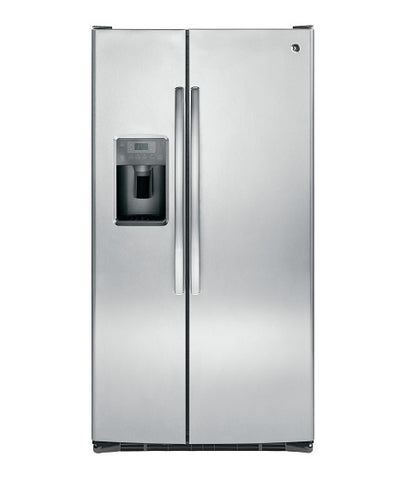 GE - 25.4 CU. FT. SIDE-BY-SIDE REFRIGERATOR WITH DISPENSER STAINLESS STEEL GSE25GSHSS