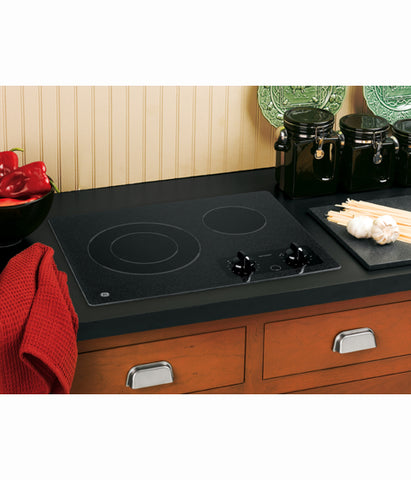 "21"" BUILT IN RADIANT COOKTOP GE - BLACK ON BLACK JP256BMBB"