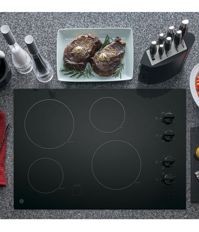 "30"" BUILT-IN CLEANDESIGN ELECTRIC COOKTOP GE - BLACK ON BLACK JP3030DJBB"