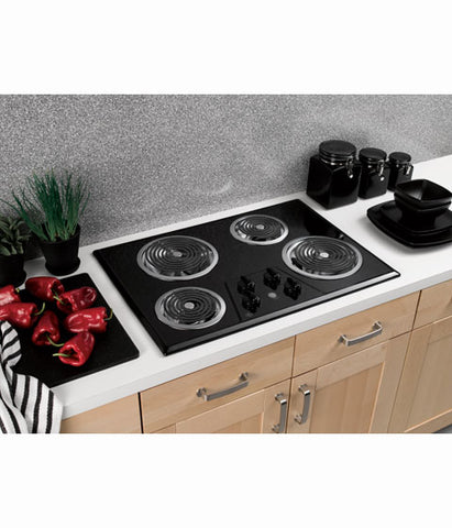 "30"" BUILT IN ELECTRIC COOKTOP GE - BLACK ON BLACK JP328BKBB"