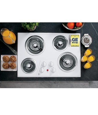 "30"" BUILT IN ELECTRIC COOKTOP GE - WHITE ON WHITE JP328WKWW"