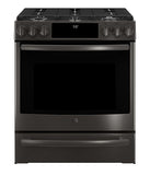 SLIDE-IN FRONT CONTROL PREMIUM BLACK STAINLESS STEEL APPEARANCE, 5.6 CU. FT. SELF-CLEANING CONVECTION GAS RANGE GE PROFILE - BLACK STAINLESS STEEL PCGS930BELTS