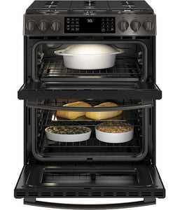 SLIDE-IN FRONT CONTROL PREMIUM BLACK STAINLESS STEEL APPEARANCE, 6.7 CU. FT. SELF-CLEANING CONVECTION GAS RANGE, WIFI CONNECTIVITY GE PROFILE - BLACK STAINLESS STEEL PCGS960BELTS