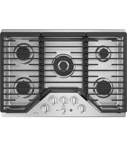 "30"" BUILT-IN GAS DEEP RECESSED EDGE-TO-EDGE BLACK COOKTOP GE PROFILE - STAINLESS STEEL PGP9030SLSS"