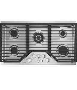 "36"" BUILT-IN GAS DEEP RECESSED EDGE-TO-EDGE BLACK COOKTOP GE PROFILE - STAINLESS STEEL PGP9036SLSS"