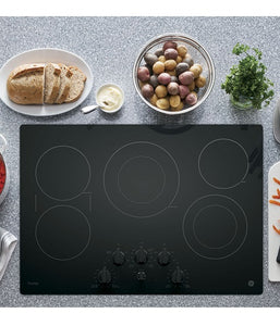 "GE PROFILE 30"" ELECTRIC COOKTOP WITH BUILT-IN KNOB CONTROL GE PROFILE - BLACK ON BLACK PP7030DJBB"